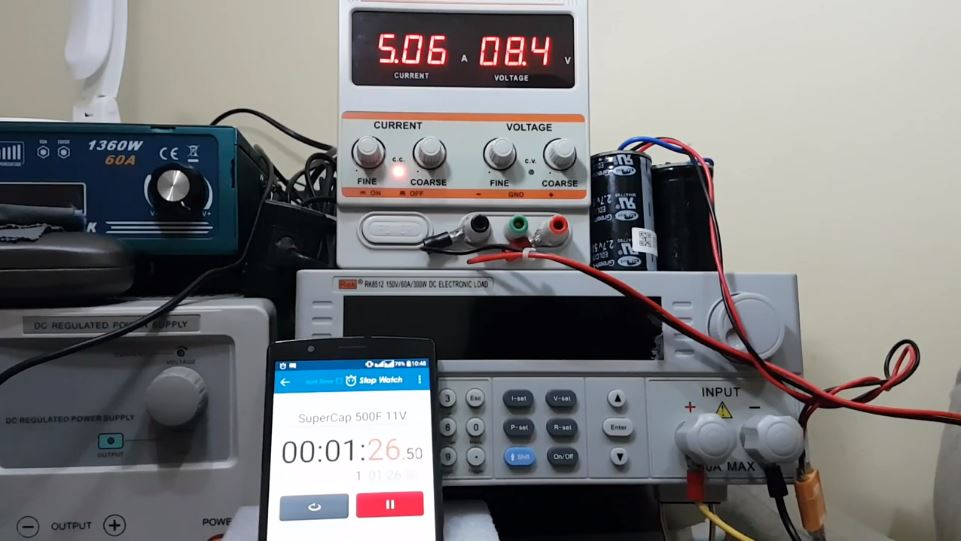 Super Capacitor 500F 2.7V Charge & Discharge Test